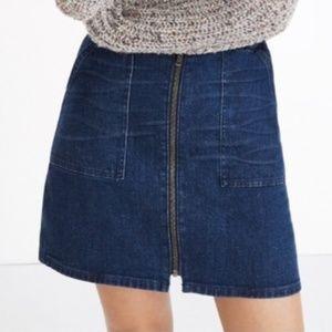 Madewell utility zip denim skirt